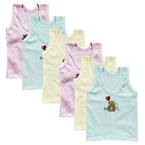 Cucumber ANGAAKAR Clothings Kids Inner Wear Printed Vest Unisex Baniyan Undershirt Baby Sando Cotton Vest Pack of 6