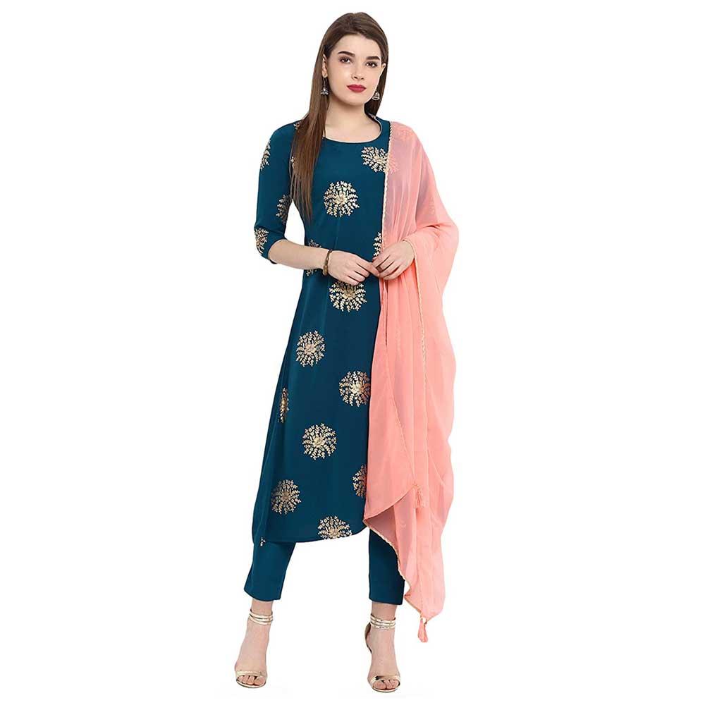 Janasya Women's Turquoise Crepe Kurta With Pant And Dupatta